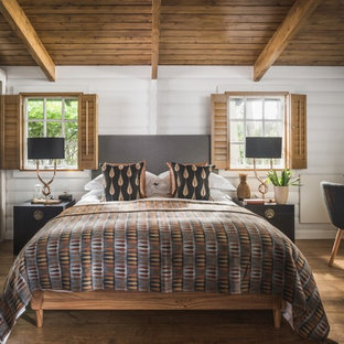 Design Ideas For A Medium Sized Country Guest Bedroom In Other With White  Walls, Medium