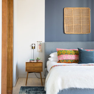 Неиссякаемый источник вдохновения для домашнего уюта: хозяйская спальня в стиле ретро с светлым паркетным полом и разноцветными стенами без камина