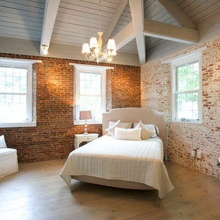 Design ideas for a mid-sized country guest bedroom in Boston with red walls, light hardwood floors, no fireplace and brown floor.