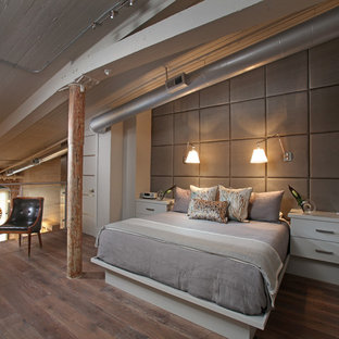 Design ideas for a mid-sized industrial loft-style bedroom in Atlanta with medium hardwood floors, white walls and no fireplace.