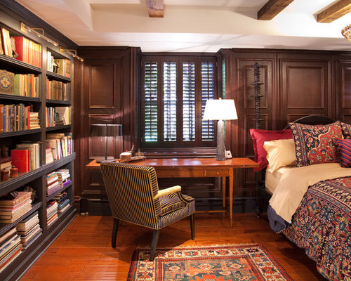 Library bedroom houzz Bedroom home with study