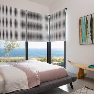 На фото: гостевая спальня среднего размера в стиле модернизм с белыми стенами, бетонным полом и серым полом с