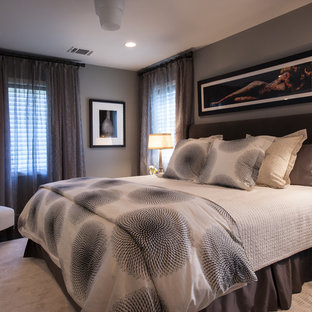 Inspiration for a contemporary carpeted bedroom remodel in Dallas with gray walls