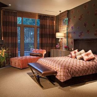 Foto de dormitorio minimalista con paredes multicolor, moqueta y chimenea de esquina