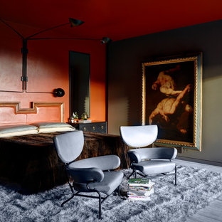 Inspiration for an eclectic master gray floor bedroom remodel in Los Angeles with red walls