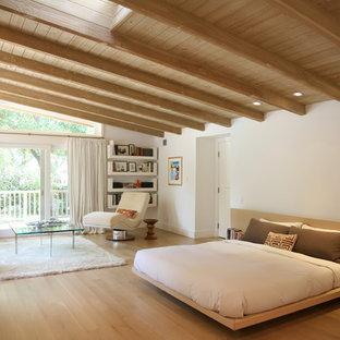 Idee per una grande camera matrimoniale scandinava con pareti bianche, parquet chiaro, camino classico e cornice del camino in pietra