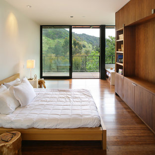 Minimalist dark wood floor bedroom photo in Los Angeles with white walls and no fireplace