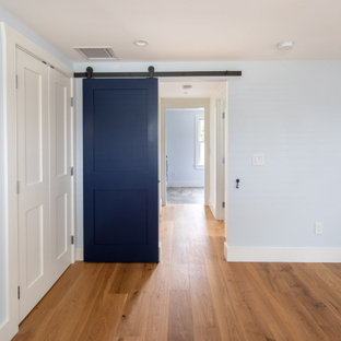 This is an example of a small beach style bedroom in Boston with blue walls, brown floor and medium hardwood floors.