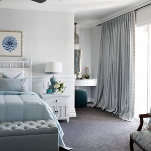 Inspiration for a large transitional master bedroom in Brisbane with grey walls, carpet and grey floor.