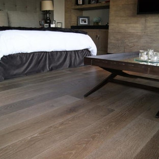 Inspiration for a large contemporary master medium tone wood floor and brown floor bedroom remodel in Miami with brown walls and no fireplace