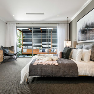 This Is An Example Of A Contemporary Master Bedroom In Perth With Grey Walls Carpet