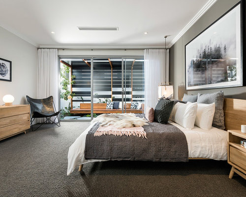 This Is An Example Of A Contemporary Master Bedroom In Perth With Grey  Walls, Carpet