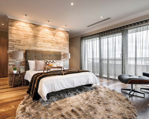 Master bedroom feature wall houzz for Feature wallpaper bedroom ideas