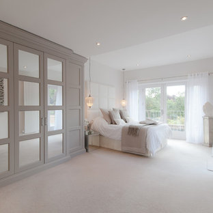 Design Ideas For A Clic Bedroom In Other With White Walls And Carpet
