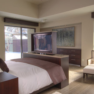 Design ideas for a large contemporary master bedroom in Toronto with brown walls, porcelain floors and brown floor.