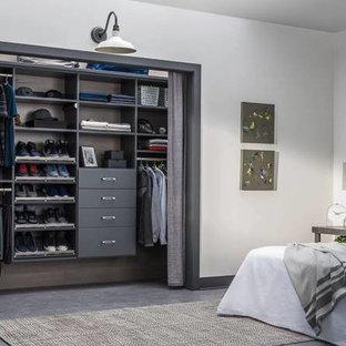 Bedroom - small transitional gray floor bedroom idea in Grand Rapids