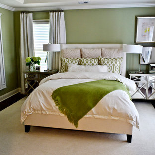 Mid-sized transitional master dark wood floor bedroom photo in Atlanta with green walls