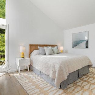 Bedroom - coastal medium tone wood floor, brown floor and vaulted ceiling bedroom idea in New York with white walls