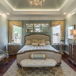 Inspiration for a classic master bedroom in Louisville with grey walls.