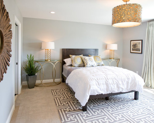 Inspiration For A Contemporary Carpeted Bedroom Remodel In Louisville With  Gray Walls