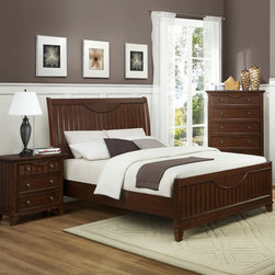 Homelegance - Homelegance Alyssa 3 Piece Panel Bedroom Set in Cherry - The Alyssa Collection is a quaint addition to your home. Cottage styling features molding and paneling with coordinating knob drawer pulls. The functional accent of ball bearing drawer glides on each drawer lend support and ease of effort. The crescent shape design feature that accents the headboard and drawer fronts pulls the look together resulting in a casual feel that will fit your cottage motif.
