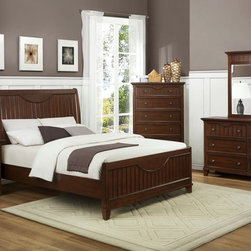 Homelegance - Homelegance Alyssa 5 Piece Panel Bedroom Set in Cherry - The Alyssa Collection is a quaint addition to your home. Cottage styling features molding and paneling with coordinating knob drawer pulls. The functional accent of ball bearing drawer glides on each drawer lend support and ease of effort. The crescent shape design feature that accents the headboard and drawer fronts pulls the look together resulting in a casual feel that will fit your cottage motif.