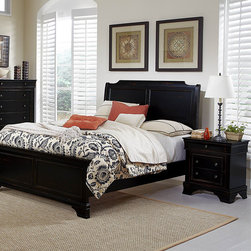 Homelegance - Homelegance Derby Run 2 Piece Panel Bedroom Set in Antique Black - The dream of escaping to the country is actualized with the addition of the Derby Run Collection to your bedroom.Traditional Louis Philip styling lends an air of formality yet the heavily rusticated black sand through finish reveals a layer of cherry  lends to the bucolic character of the suiteâs aesthetic. Metal drawer knobs feature an antique finish that complements the collection.