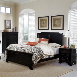 Homelegance - Homelegance Derby Run 3 Piece Panel Bedroom Set in Antique Black - The dream of escaping to the country is actualized with the addition of the Derby Run Collection to your bedroom.Traditional Louis Philip styling lends an air of formality yet the heavily rusticated black sand through finish reveals a layer of cherry  lends to the bucolic character of the suiteâs aesthetic. Metal drawer knobs feature an antique finish that complements the collection.