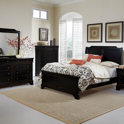 Homelegance - Homelegance Derby Run 5 Piece Panel Bedroom Set in Antique Black - The dream of escaping to the country is actualized with the addition of the Derby Run Collection to your bedroom.Traditional Louis Philip styling lends an air of formality yet the heavily rusticated black sand through finish reveals a layer of cherry  lends to the bucolic character of the suiteâs aesthetic. Metal drawer knobs feature an antique finish that complements the collection.