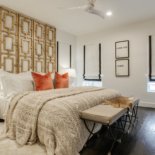Example of a transitional dark wood floor bedroom design in Dallas with white walls