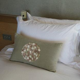 Ejemplo de dormitorio principal, minimalista, pequeño, con paredes grises, suelo de cemento y chimeneas suspendidas