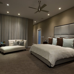 Inspiration For A Contemporary Master Carpeted Bedroom Remodel In Chicago  With Beige Walls