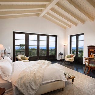 Design ideas for a large mediterranean master bedroom in Other with white walls, dark hardwood floors and no fireplace.