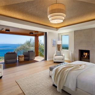 Modelo de dormitorio principal, contemporáneo, grande, con paredes blancas, suelo de madera clara, chimenea tradicional y marco de chimenea de hormigón