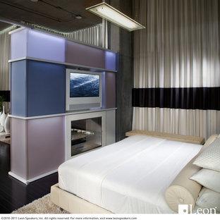 Ispirazione per una piccola camera da letto stile loft design con parquet scuro e camino bifacciale
