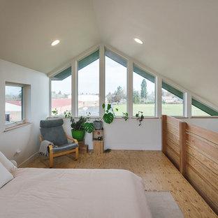Foto de dormitorio tipo loft, moderno, de tamaño medio, con paredes blancas y suelo de contrachapado