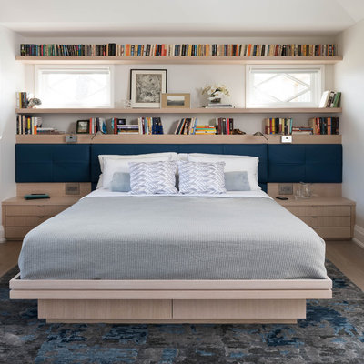 Inspiration for a contemporary light wood floor bedroom remodel in Toronto with white walls