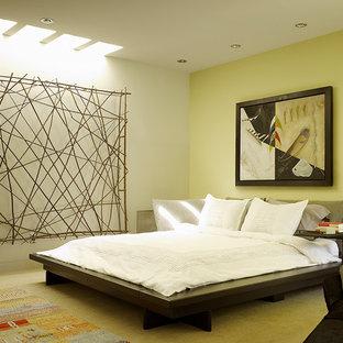 Bedroom - large contemporary master bedroom idea in San Francisco with green walls