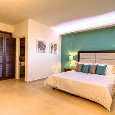Bedroom - contemporary bedroom idea in Other with green walls