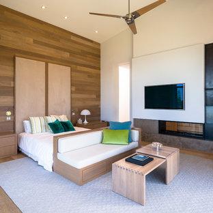 Diseño de dormitorio principal, actual, grande, con paredes blancas, suelo de madera en tonos medios, chimenea de doble cara, suelo marrón y marco de chimenea de piedra