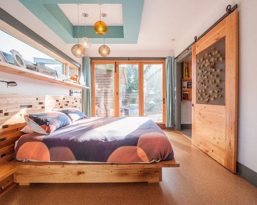 Midcentury bedroom design ideas renovations photos with for Cork flooring in bedroom