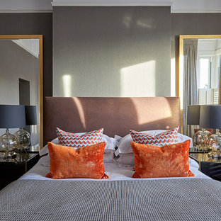 Inspiration for a contemporary bedroom in London with grey walls.