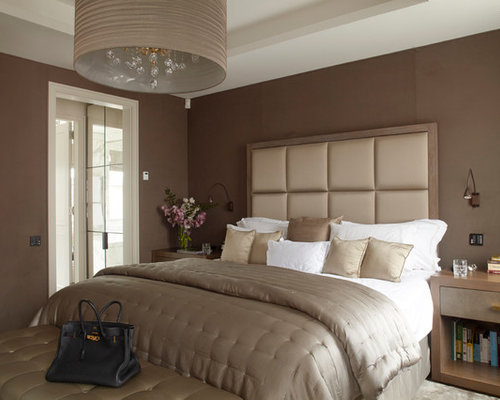 Bedroom design ideas remodels photos with brown walls for Voir peinture pour chambre