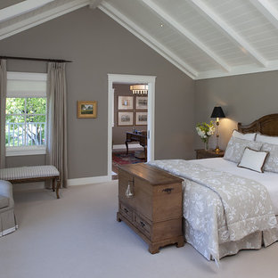Inspiration for a timeless bedroom remodel in San Francisco with gray walls