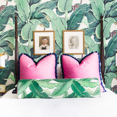 Bedroom - mid-sized eclectic master bedroom idea in Other with green walls