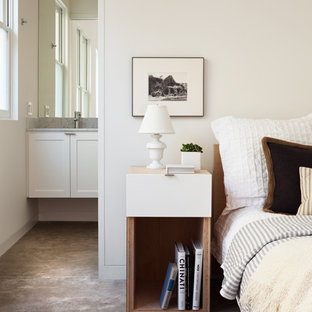 Inspiration for a transitional concrete floor bedroom remodel in San Francisco