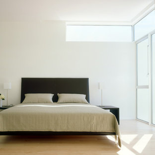 Inspiration for a modern master bedroom in Houston with white walls, light hardwood floors and no fireplace.