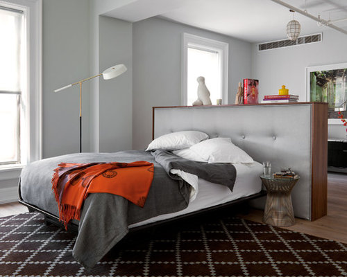 Trendy Bedroom Photo In New York With Gray Walls