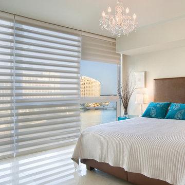 Hunter Douglas Pirouette Blue & Brown Guest Bedroom