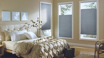 Hunter Douglas Room Darkening Pleated Cellular Shades in Master Bedroom